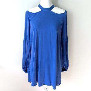 Free People Cold Shoulder Balloon Sleeve Tunic Top